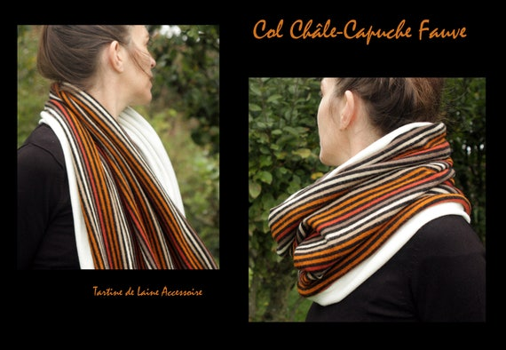 Cowl shawl/neck scarf, striped tan-orange hooded scarf.