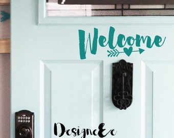"Welcome Door Vinyl - 10"" by 4"""