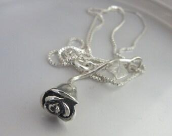 Sterling Silver Rose pendant - Silver Flower Handmade jewelry