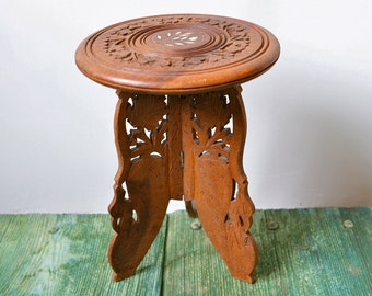 REDUCED Antique hand carved three legged wooden table
