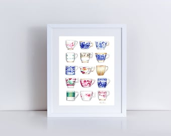 China Teacups Art Jewel Tone Painting Blue and White Teacups Chinoiserie Art Tea Party Decor Tea Party Gift Chinoiserie Watercolor Canvas
