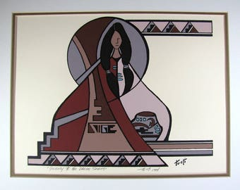 """Southwest Art, Vintage Native American Art, """"Journey to the Dream Spirits"""" with Meditating Woman, Signed Tu-Oti, 12"""" x 9"""" Rustic Home Decor"""