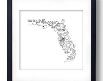 Florida - Hand drawn illustrations and type