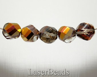 Large Fire Polish Beads 12mm Faceted (8) Czech Glass Cupper Big last