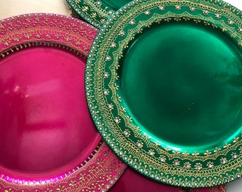 Henna Charger plate, decorative plate, Indian wedding decor, party favors, mehndi party, table decor, boho decor, mehndi haal, pooja thaal,