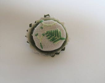 Aspen Leaf Brooch hand embroidery