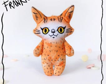 Illustrated cat doll - Frankie on Friday - Soft Minkie stuffed animal