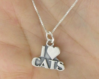 I Heart Cats Necklace - 925 Sterling Silver on Gift Card with Quote About Cats
