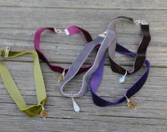 Dominican Larimar Velvet Choker Necklace