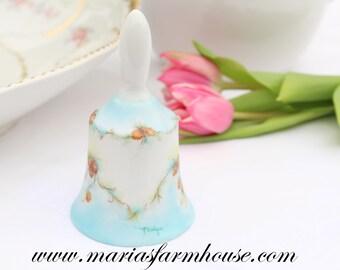 Vintage, Porcelain, Artist Signed Bell, Gifts for Her, Wedding Bell, Bridal Shower Gift Inspiration