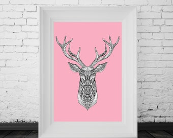 Reindeer Print Pink, Digital Print, Minimal Animal Art, Modern Wall Poster, Abstract Art, Modern Deer Poster