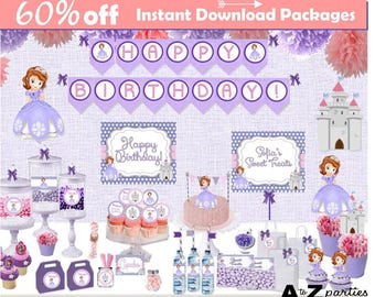 Sofia The First, 60% savings, Inspired Party Package, Printable, Party, Party package, sofia birthday party cupcake toppers, banner, signs