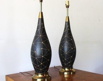 Pair of Vintage Mid Century Modern 1960s Ceramic Table Lamp