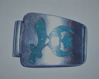 Vintage Sterling Shrine Buckle with Inlaid Design. Possibly Turquois?