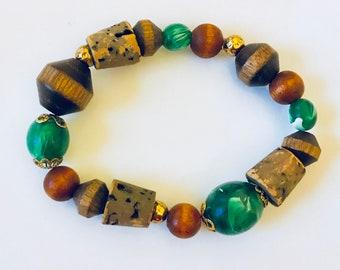Fun Multicolored Wood Bracelet