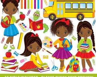 Back to School Clipart - Vector School Clipart, African American Clipart, School Clipart, Kids Clipart, Back to School Clip Art