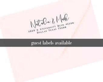 Return Address Labels, Transparent Return Address Stickers, Formal Address Stickers, Wedding Label, Family Label, Couples Return Label  T159