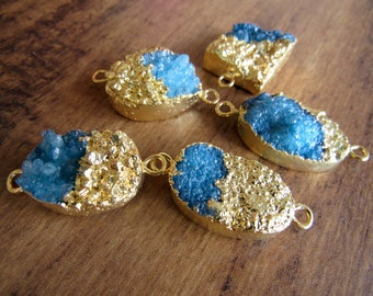 5pcs Electroplated Druzy Connector, Turquoise Blue Druzy Connector, Gold Connectors, Gemstone Connector, 25mm To 18mm