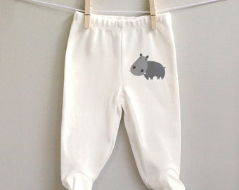 Baby clothes, Hippo baby pants, Hippo footed baby pants, gifts for baby