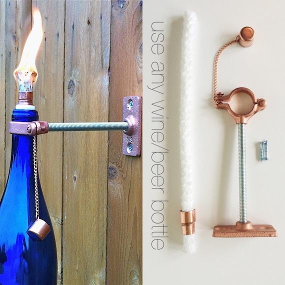 20 HARDWARE ONLY  Wine Bottle Tiki Torch kits - Outdoor Lighting - Backyard Wedding - Gift for Dad - Hurricane Lamp - Outdoor Tiki Torch