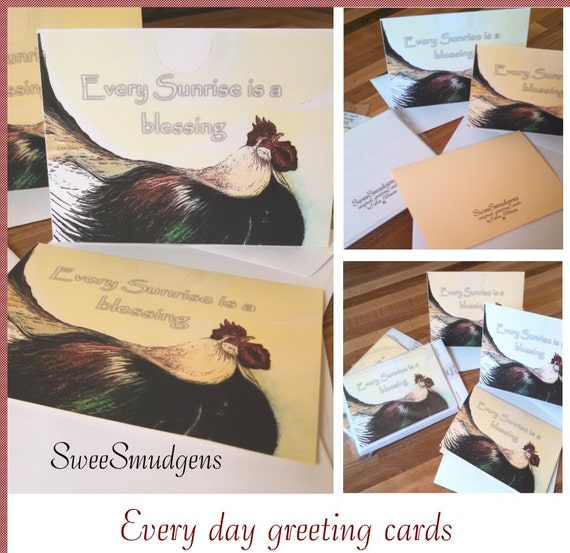 Rooster sunrise hand made everyday greeting card sets black rooster print chicken stationary country rooster original nostalgic fine art