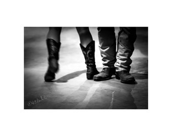 Two Step Fine Art Photography Black and White Dancers Western Style Cowboy boots Out West Saturday night swings Dramatic romantic Country