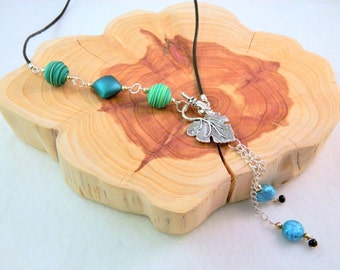 Green and Blue Lariat Necklace with Black Cord
