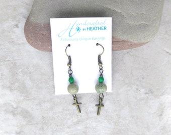 Green opal earrings, cross earrings, green and brass earrings, gifts for women, October birthstone, baptism gift for her, gift for daughter