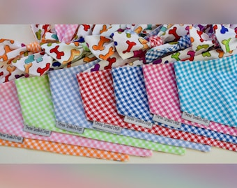 Personalized Dog Bandana |•| The Best Green Gingham Reversible Classic Tie Pet Scarf |•| Puppy Dog Gifts by Three Spoiled Dogs