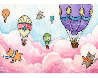 4x6, *Original* Hot Air Balloon Adventures, cats and balloons,  Watercolor painting framed