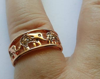 Gold over silver elephant ring