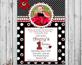 Fancy Ladybug 1st Birthday Invitation - Digital - Photo Birthday Invitation