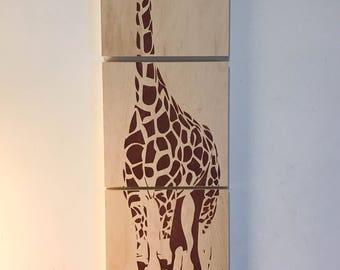 12 x 36 inch girafe wooden print