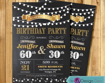 Adult joint party birthday invitation combined 3 birthday adult joint birthday invitation string light invitationchalkboardcombined partygold filmwisefo Images