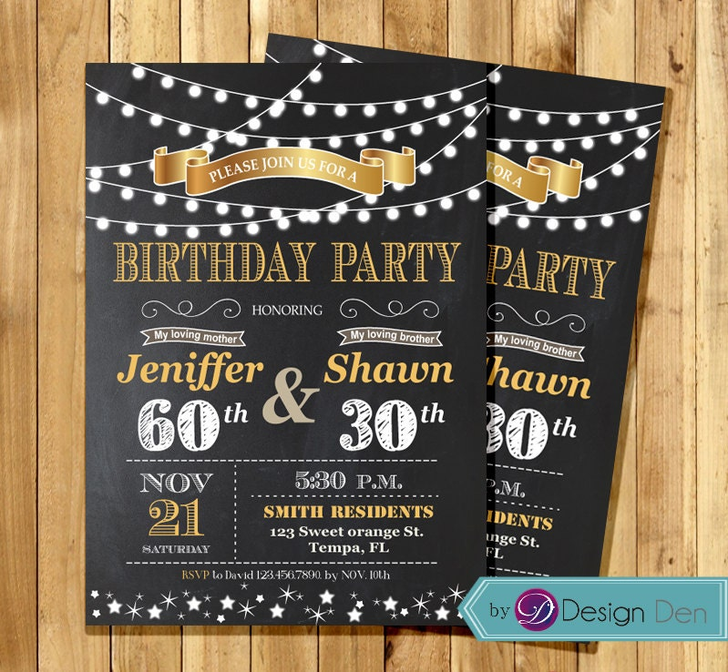 Adult Joint Birthday Invitation String light