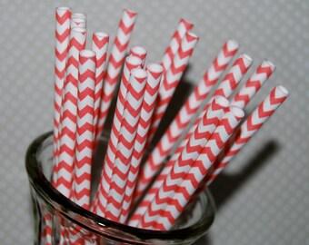 Chevron Straws - Coral 25 paper straws & Flags - Coral chevron  stripe drinking straws - cake pop sticks vintage party straws