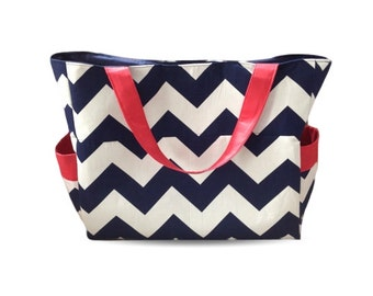 Large Chevron Nappy Bag - Diaper Bag - Navy Blue with Red