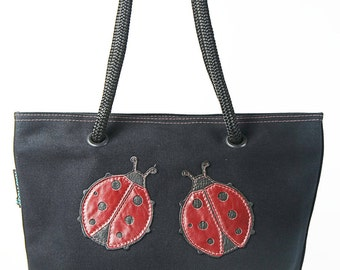 Small canvas tote bag - Black canvas w/ Ladybug images and red stitching