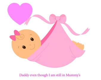 Daddy Bump Girl Fathers Day Card