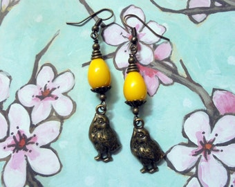 Yellow Easter Egg and Chick Earrings (2493)