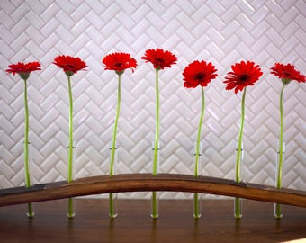 Napa Valley Wine Barrel Stave, Bud Vase // test tube - reclaimed, upcycled wood - flower, floral - centerpiece - decor - Valentines gift