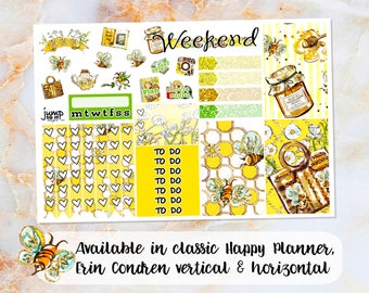 Honey Bee sampler stickers - for Happy Planner, Erin Condren Vertical and Horizontal Planners - summer bees honey