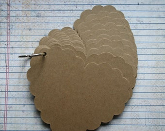 "10 pg  Scalloped Heart Chipboard die cut Album 4 7/8"" wide x 3 7/8"" tall"