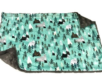 Aqua Grey Mountain Forest Peaks Woodland Baby Blanket, Forests Woodland Baby Lovey, Baby Boy MINKY Blanket, Ready to Ship Baby Lovey