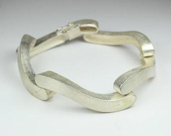 Minimalist Brushed Sterling Silver Bracelet