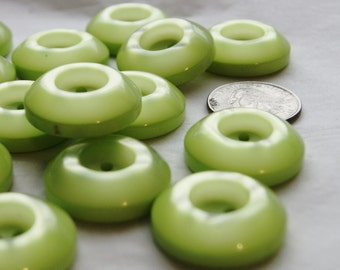 15 Lime Green Buttons, Thick Deep Face Donut Button, Sew Through Buttons (AN 16)