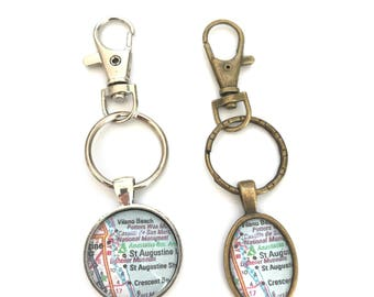 Personalized Mens Keychain - Custom Map Keychains - silver or bronze - key ring gift for destination wedding