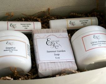 Luxury Spa Gift, Spa Gift Set, Gift for Mom,  Gift Box with soap, scrub, body butter and lotion bars.