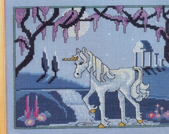 Counted Cross Stitch Chart  - Unicorn in Moonlight - Fantasy Scene - CHaRT ONLY