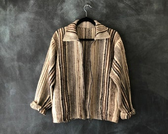 70s Wool Stripeed Jacket Boxy Blanket Woven Hippy Boho Hippie Bohemian Ethnic Winter Fall Mens S Ladies M